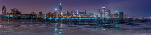 blue winter sunset urban panorama lake chicago cold tower ice skyline night pier illinois nikon long exposure downtown stitch michigan sears adler navy hour planetarium hancock nikkor trump f28 willis 2470mm d600
