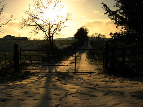 sunset snow rural landscape gate shadows lane fields countrylandscapes