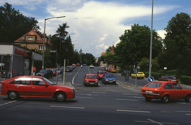 Kreuzung Welserstraße und Elbinger Straße, Nürnberg, Mai 1989.
