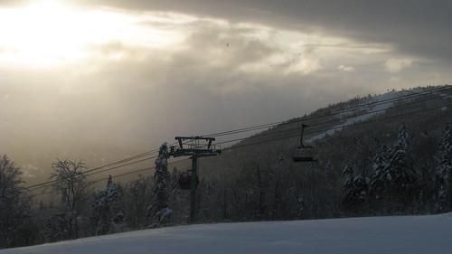 morning winter light sun snow ski sunrise chair lift maine snowboard gondola sundayriver chondola