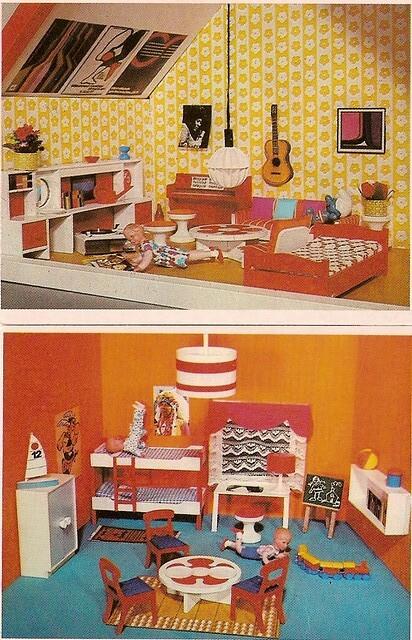 1972 Puppenhausquartett Lundby Modella Kinderzimmer