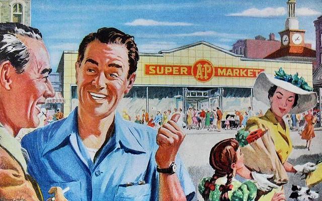 1950s A&P supermarket advertisement illustration family storefront