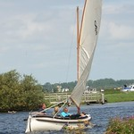 Zijlsloep Basic edition under sail. The metal cushion support in the picture is not provided as it interferes with sailing.