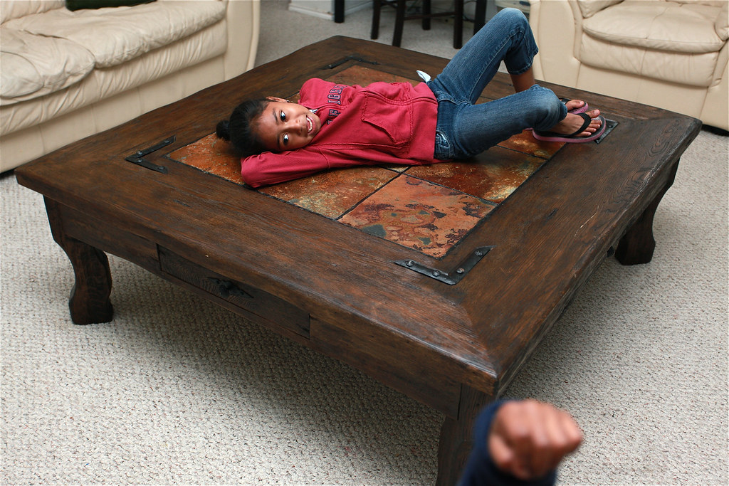 Oversized Rustic Wooden Coffee Table With Slate Tile Inser Flickr