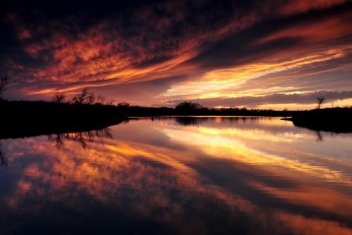 park sunset reflection creek kansas prairie wichita cirrus chisholm chisholmcreekpark
