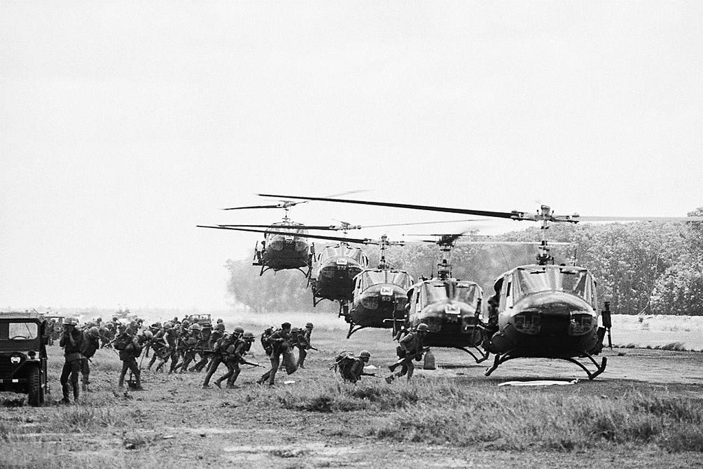 Vietnam War 1972 - Line of Helicopters of the U S  First A