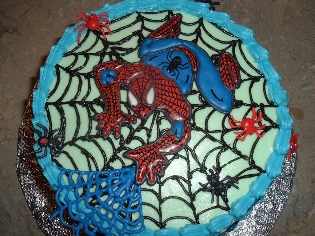 Fantastic Spiderman Birthday Cake Spiderman Is Made Out Of Colour F Flickr Funny Birthday Cards Online Inifofree Goldxyz