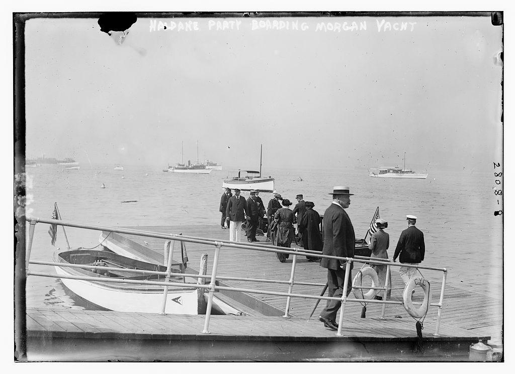 Haldane party boarding Morgan yacht  (LOC)