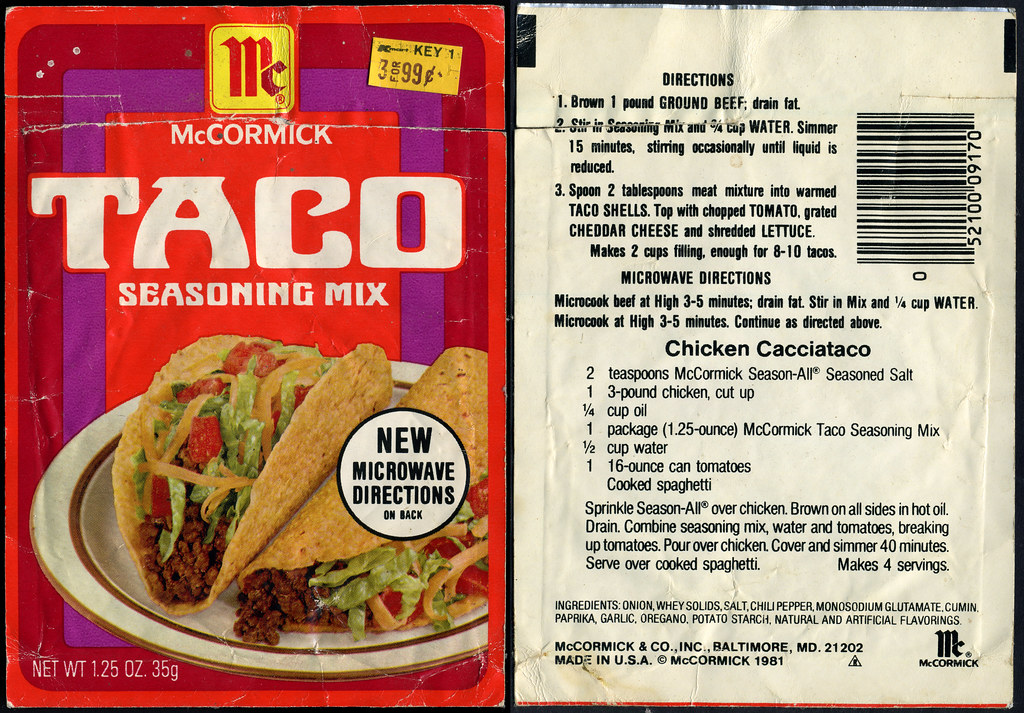 Mccormick Taco Seasoning Mix Packet 1981 Mccormick S I Flickr