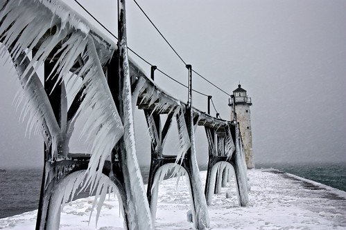 winter lighthouse snow cold ice landscape frozen michigan manistee