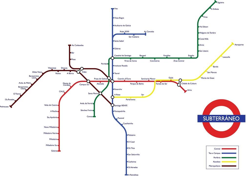 Santiago Subway Map.Santiago De Compostela Underground Map Disponible Ahora En Flickr