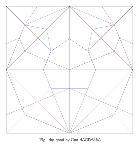 ブタ 展開図 / Pig crease pattern | by Gen Hagiwara