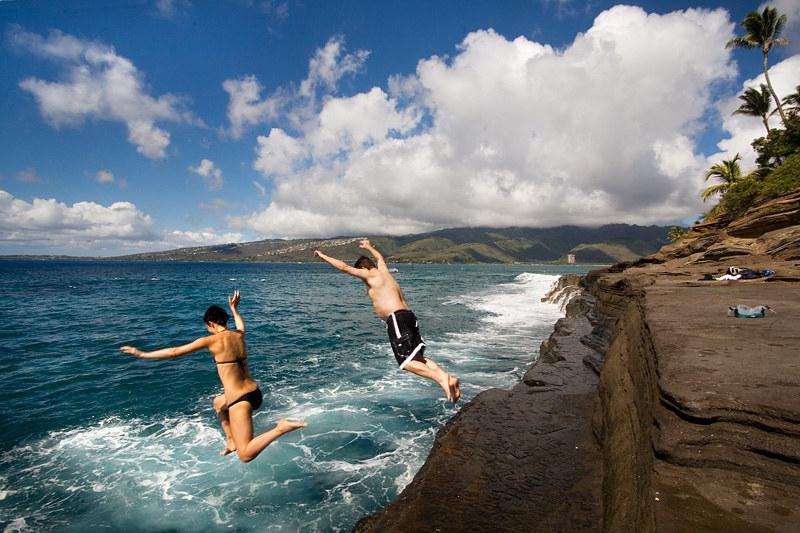 Kristina and Bill cliff jumping at China Walls