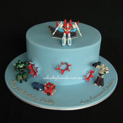 Groovy Transformers Birthday Cake Featuring Sugar Models Of Stars Flickr Funny Birthday Cards Online Alyptdamsfinfo
