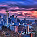 Blazing Seattle Sunset by Surrealize