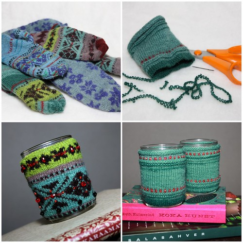 Warm tea cozy made of outworn mittens   by X by Leina Neima