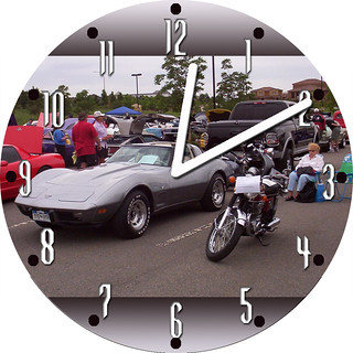 Harold's Corvette & Harley | by customclockface