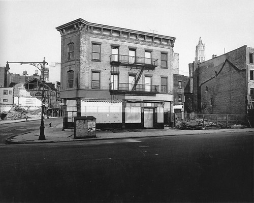 The corner of West Street and Chambers Street. Just a few blocks north from the World Trade Center, which was already in progress. New York. 1967 | by wavz13