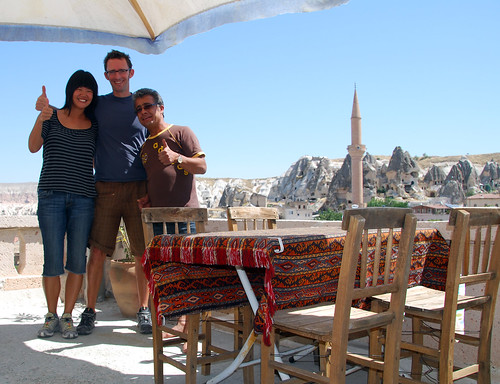 hope, jeremy, and ihsan on the roof of kookaburra pension, cappadocia | by hopemeng