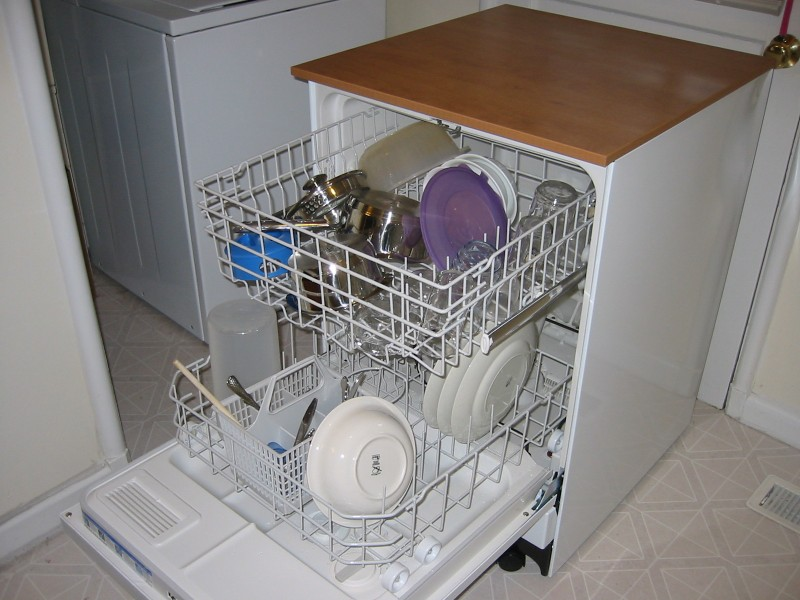 Loaded dishwasher machine