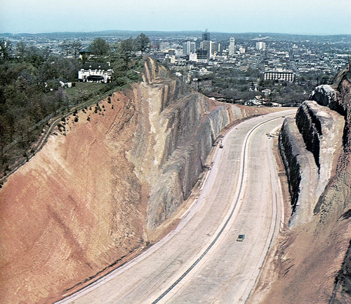 birmingham alabama redmountain highway expressway cut geology skyline 1970 found