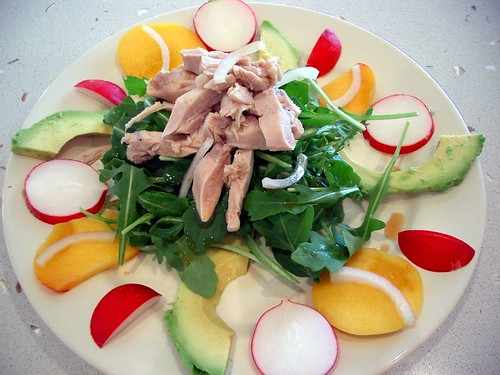 Salad of Poached Chicken with Avocado, Rocket Peach and Radish | by avlxyz