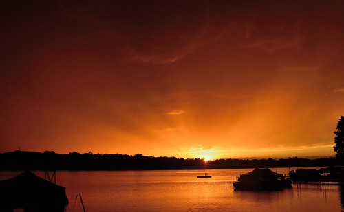 sunset summer orange sun lake mi boats golden westlake rays storms august2015