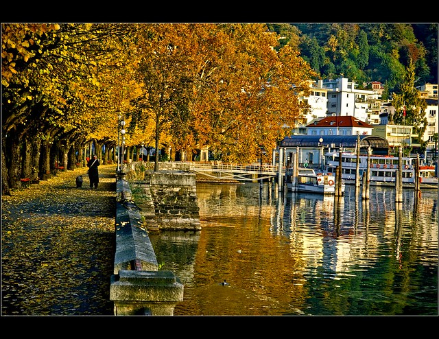 Locarno Octobre 28,2009 07:28 A lady and her dog... Canton Ticino. Switzerland.