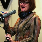 Thu, 18/03/2010 - 11:27am - Claudia Marshall enjoys a moment with Marquee Members during Patty Larkin's session for Marquee Members in Studio A on 3/18/10  .  photos copyright 2010 -gaylemiller.com