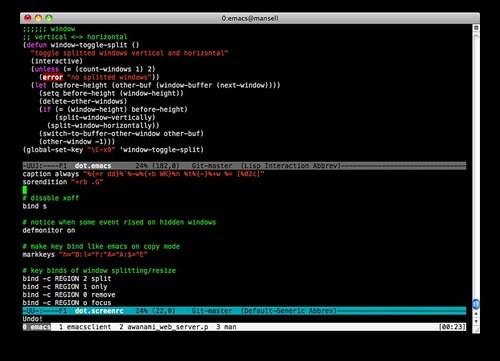 screen + emacs + Terminal | ziguzagu org/2010/01/screenrc-em… | Flickr