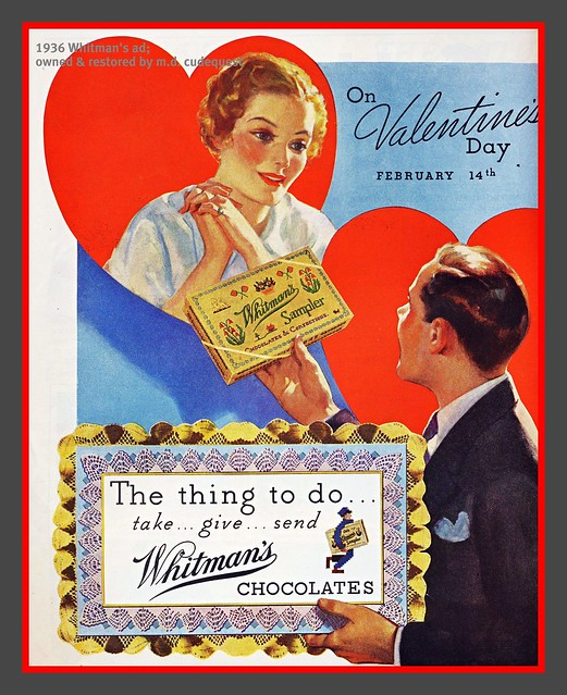 1936 Valentines Day ad--Whitman's Chocolates