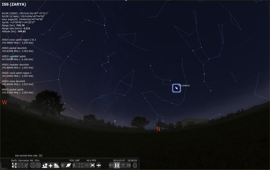 Stellarium with Satellite plugin | The free Stellarium plane… | Flickr