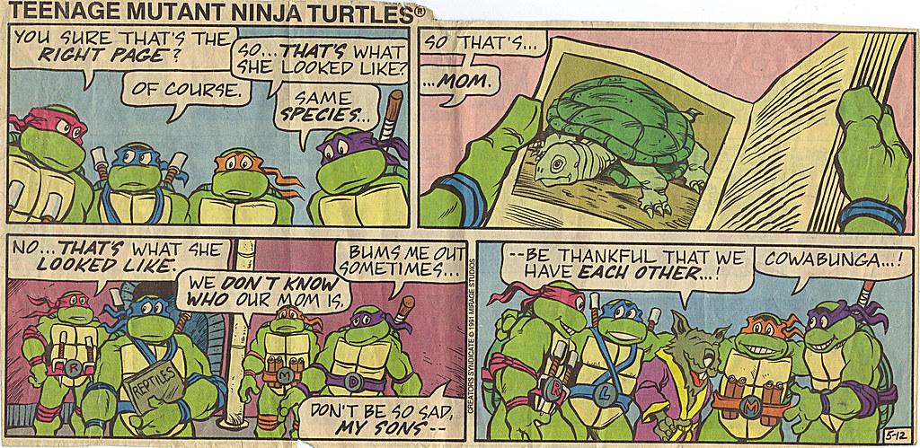 Teenage Mutant Ninja Turtles { newspaper strip } ..Remembering Mom, kinda- ..art by Lawson :: 05121991 by tOkKa