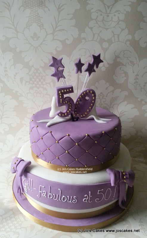 Groovy Two Tier Purple White And Gold 50Th Birthday Cake Flickr Funny Birthday Cards Online Aeocydamsfinfo