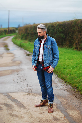 Casual weekend outfit \ denim jean jacket \ check (buffalo plaid) shirt \ skinny jeans \ brown lace up boots   Silver Londoner, over 40 menswear   by silverlondoner