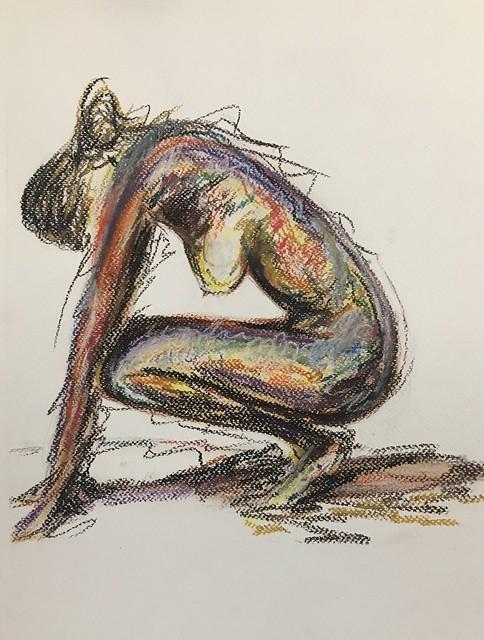 2017 Kneeling woman.