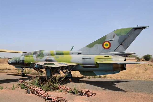 MiG-21UM TZ-375 c/n 516999341 ex Mali Air Force. Stored, Bamako-Sénou, Mali. December 2014.