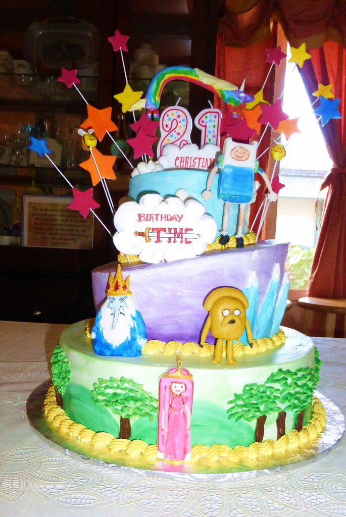 Pleasing Adventure Time Birthday Cake Loren Bailey Flickr Funny Birthday Cards Online Fluifree Goldxyz