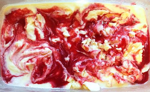 Swirling in raspberry sauce   by smithsarahjane