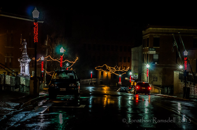 Adams Street Christmas Lights in the Rain