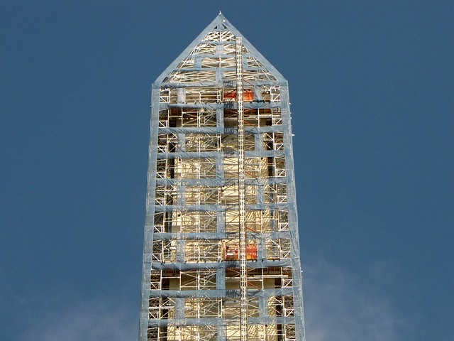 Detail of the Washington Monument's scaffolding, viewed from the south [01]