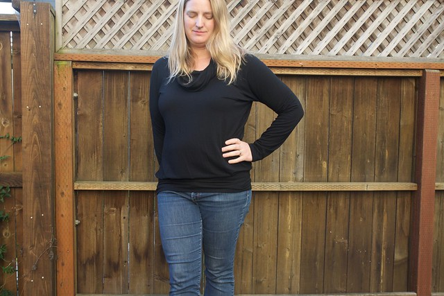 black cowl neck Lane Raglan