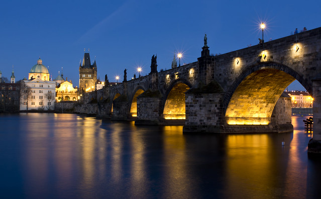 Blue hour Prague - Charles Bridge