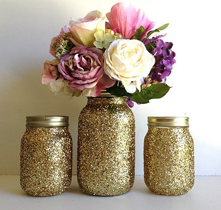 Golden Mason Jar Wedding Decorations Made This Adorable Ja Flickr