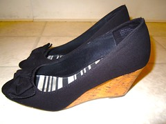 AMERICAN EAGLE AE WOMEN PLATFORM WEDGE SANDALS SLINGBACK BLACK SHOES sz 6.5