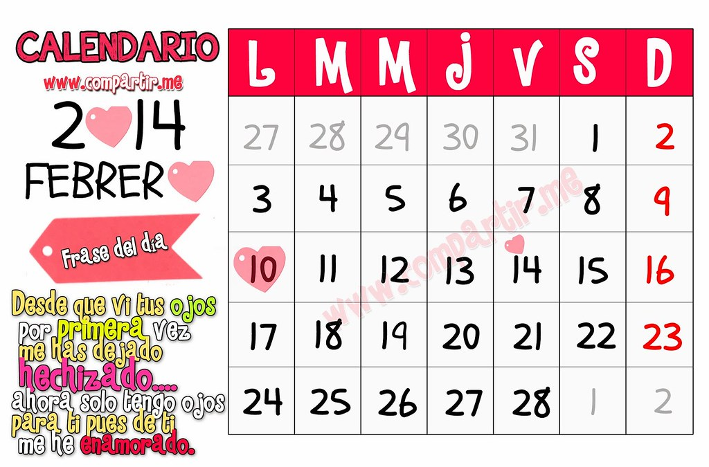 Frases De Amor 14 De Febrero 2014 Mes Del Amor Calendario