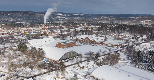 winter buildings campus aerial dartmouth