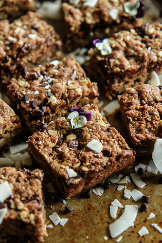 Chocolate Chia Oatmeal Cookie Bars- Vegan and Gluten Free from HeatherChristo.com | by Heather Christo