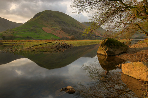 brotherswater morning light sunrise shadow lake district cumbria england english uk united kingdom great britain british reflection reflections mountain mountains tree calm serene rocks branch grass green sky clouds landscape countryside view scenic scenery field water april easter spring canon 70d sigma hartsop