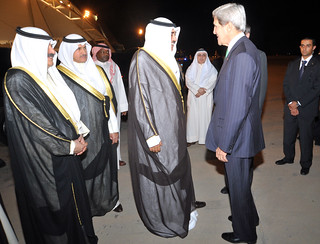 Secretary Kerry Is Greeted by Sheikh Sabah Khalid Al-Hamad Al-Sabah
